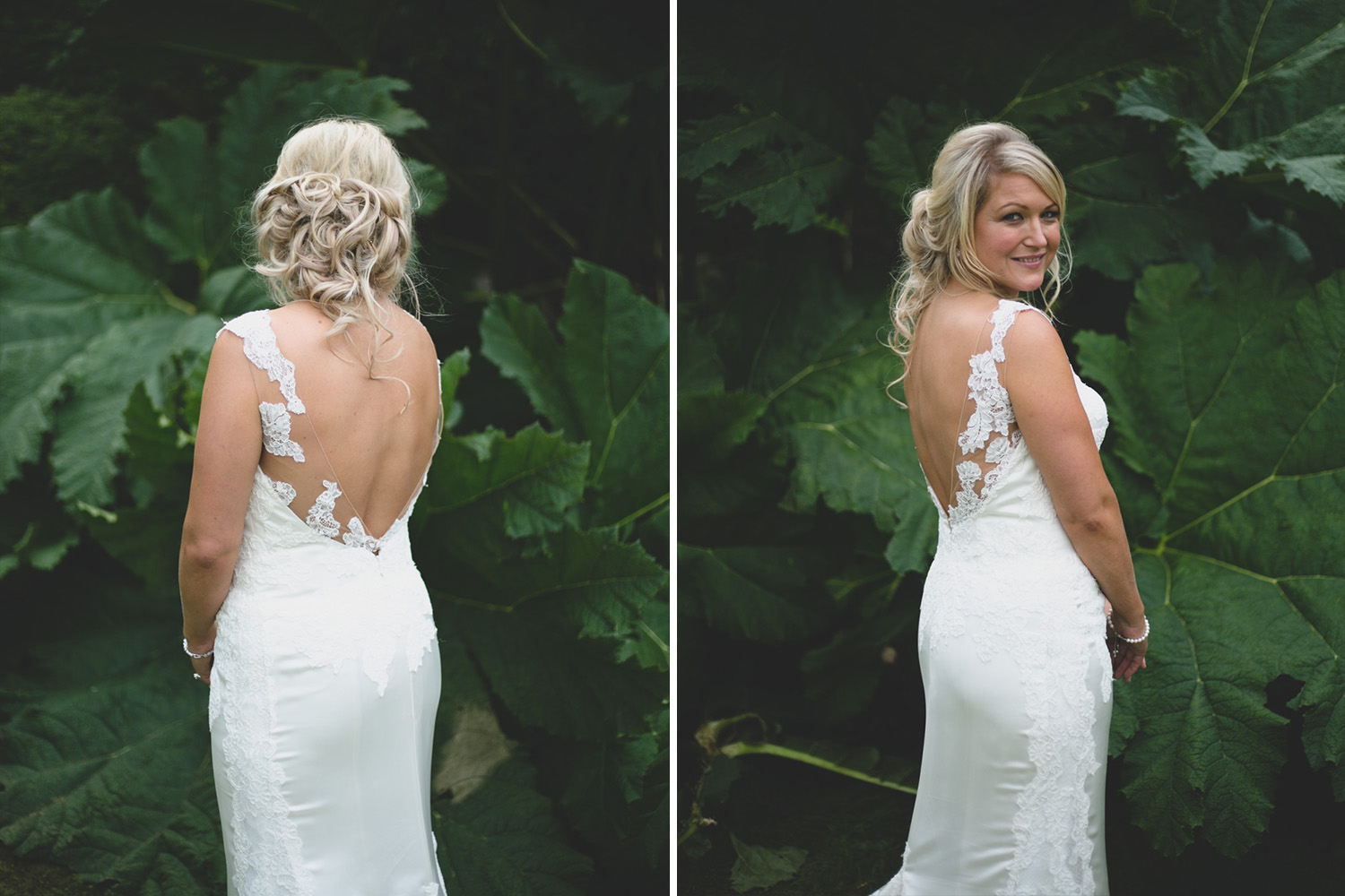 Bride models stunning dress at Ballybeg house