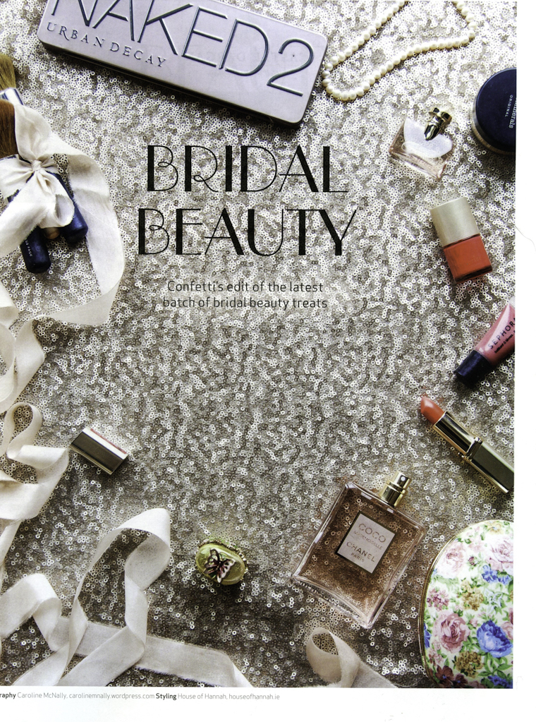 Bridal beauty flat lay overhead shot