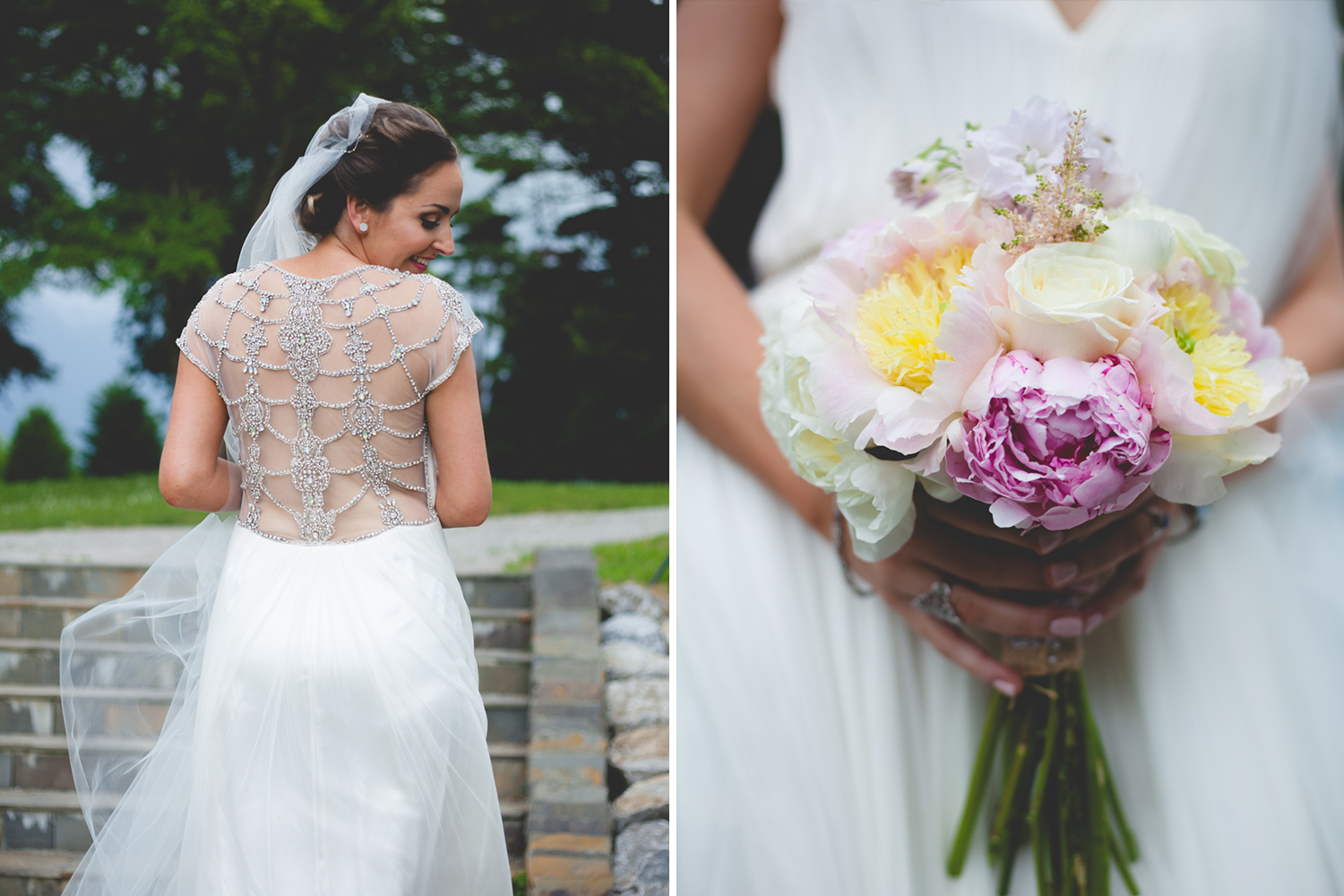 Silver embellished wedding dress and flowers