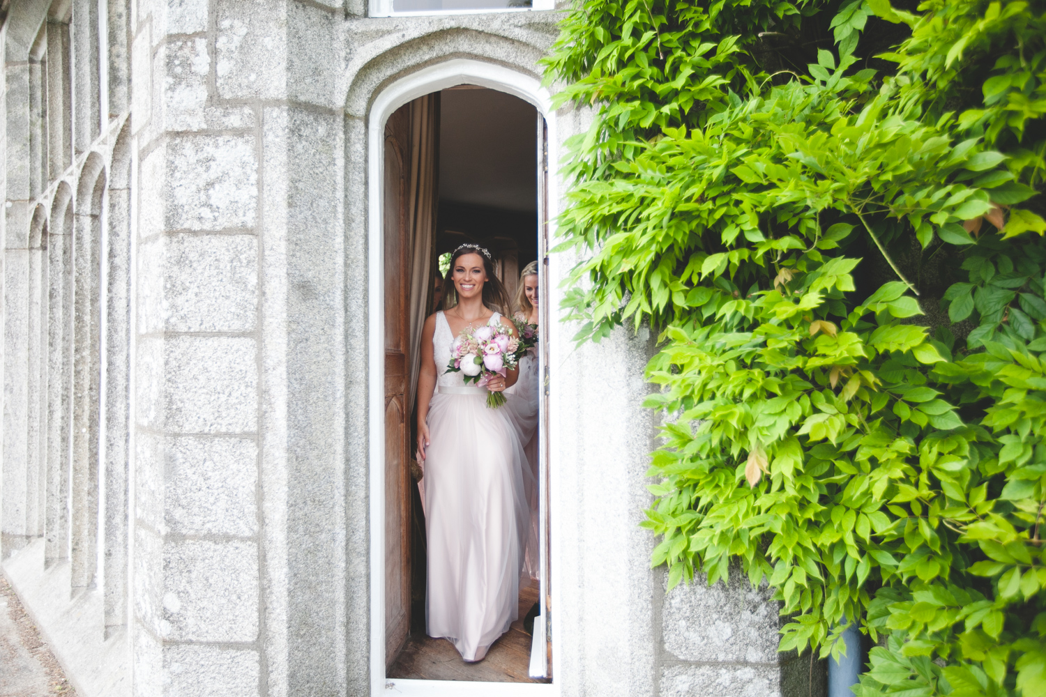 bride heading to ceremony at Lisnavagh house wedding