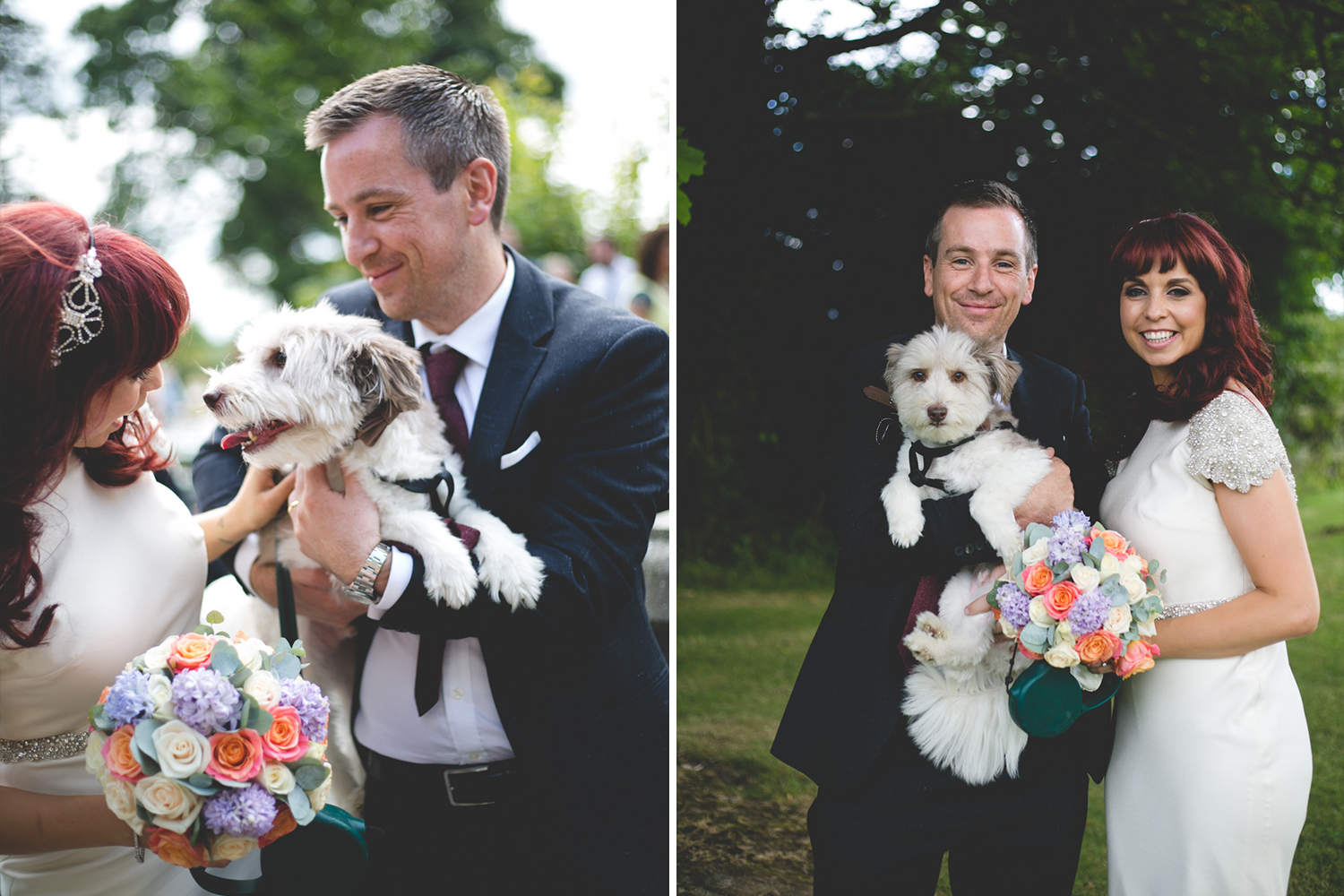 Bride and groom and dog pose for wedding portraits