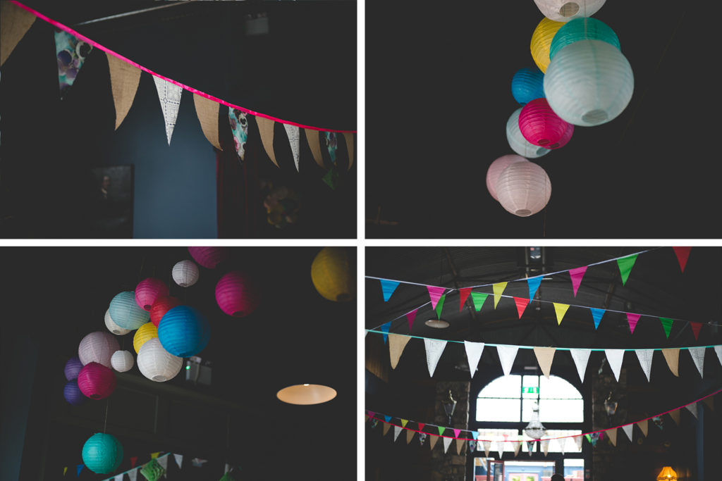 vivid colour; pink, green, yellow blue white, fun party paper lanterns