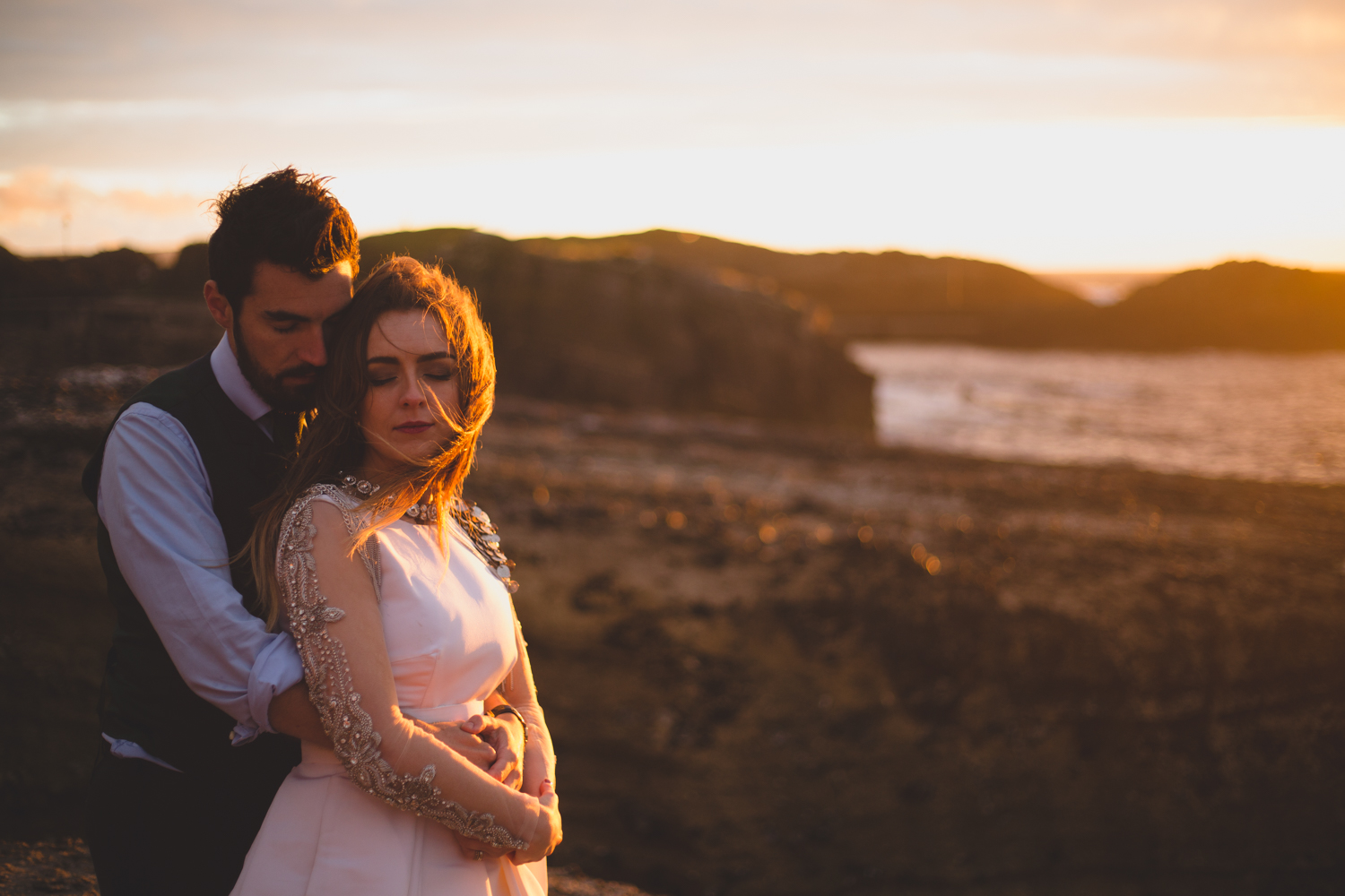 Golden hour wedding shoot at the coast
