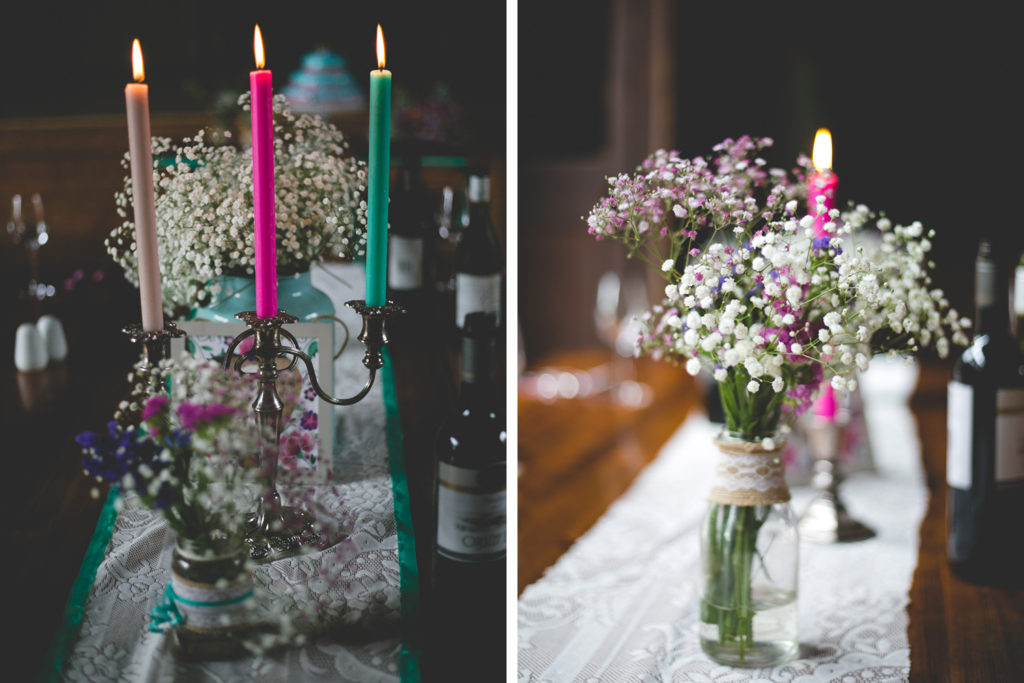 Brightly coloured neon candlesticks for place setting