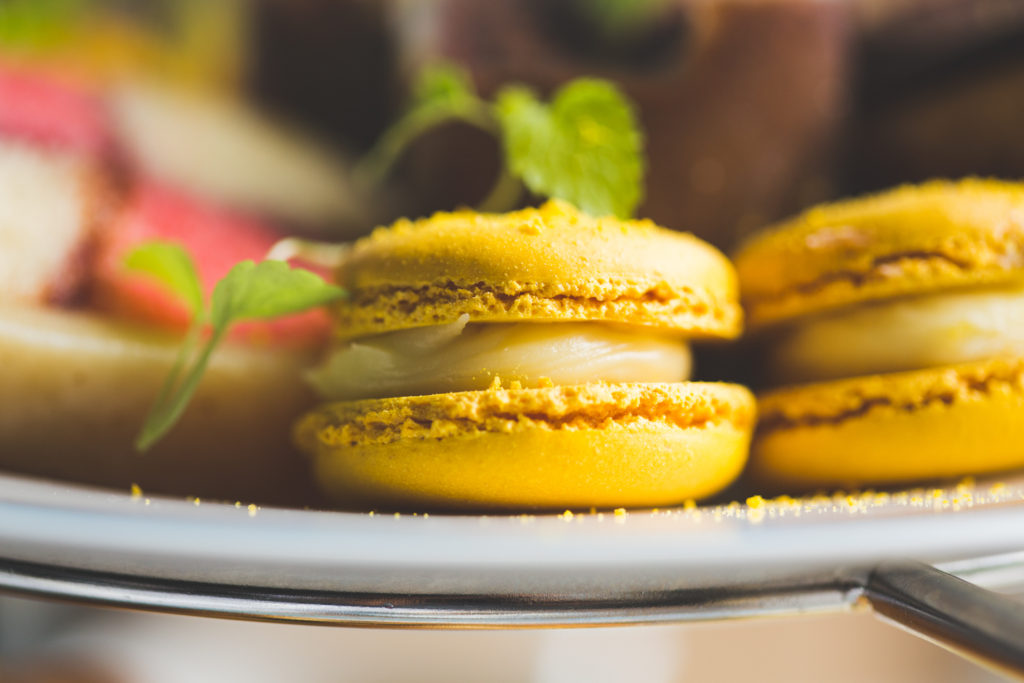 Yellow macaroons at Portmarnock hotel afternoon tea
