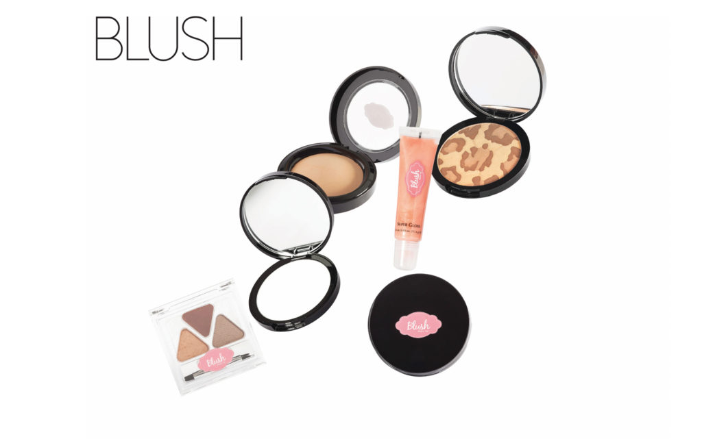 Cascading image of make-up falling for Blush Cosmetics advertisement