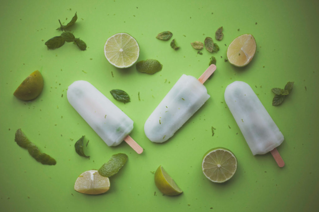 Mojito line and mint ice-lolly still-life