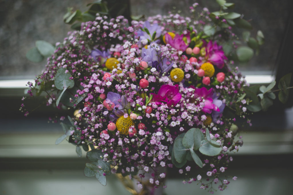 beautiful wild bouquet with pink, purple and green accents