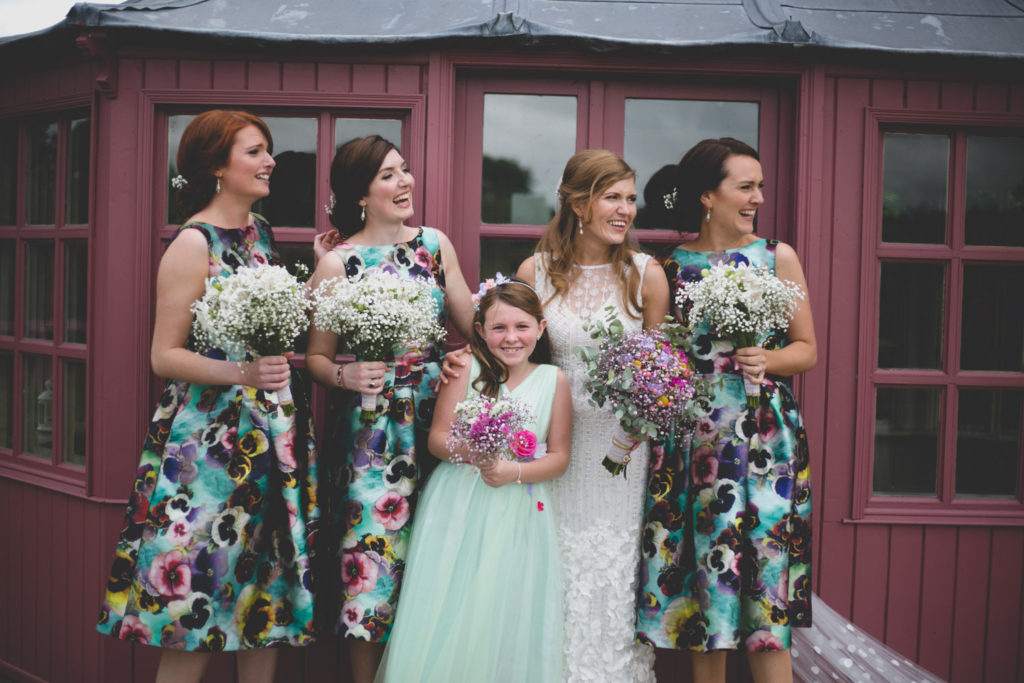 Bridemaids in floral pansy dresses from ASOS