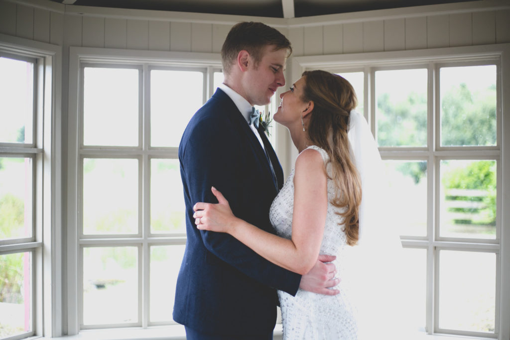 Couple wedding portrait in boathouse