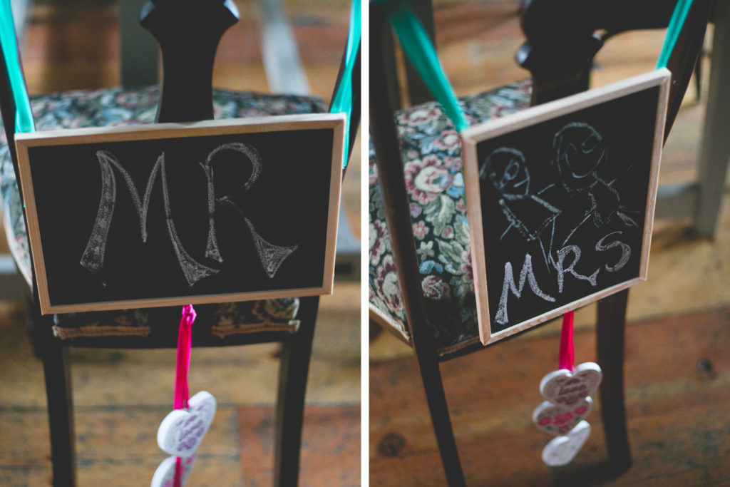 Mr & Mrs chalkboard signs for chairs in dining room