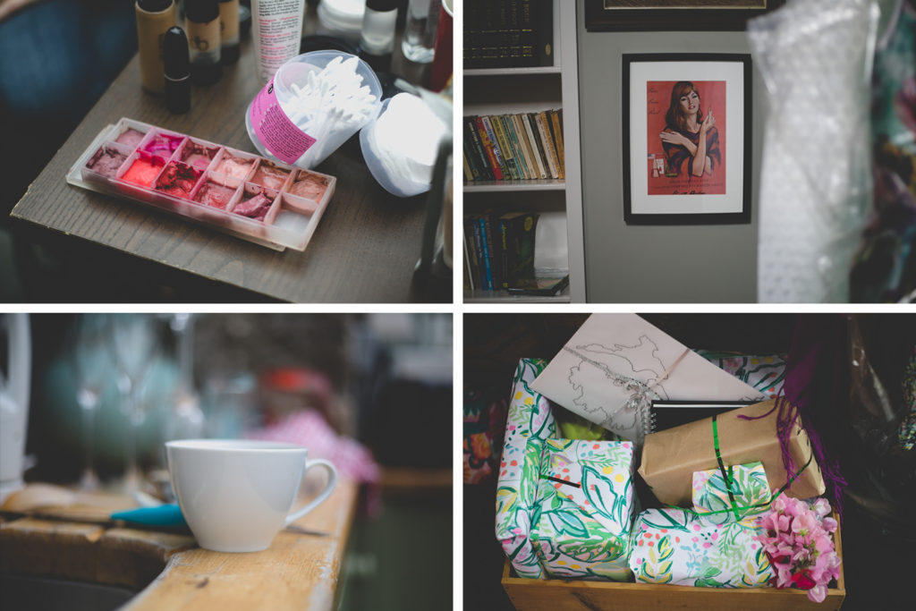 Grid of images of details on wedding morning