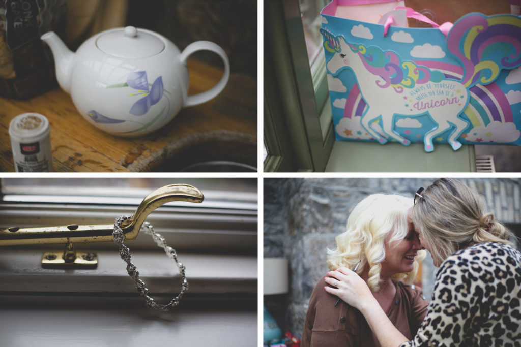 Montage of wedding morning details