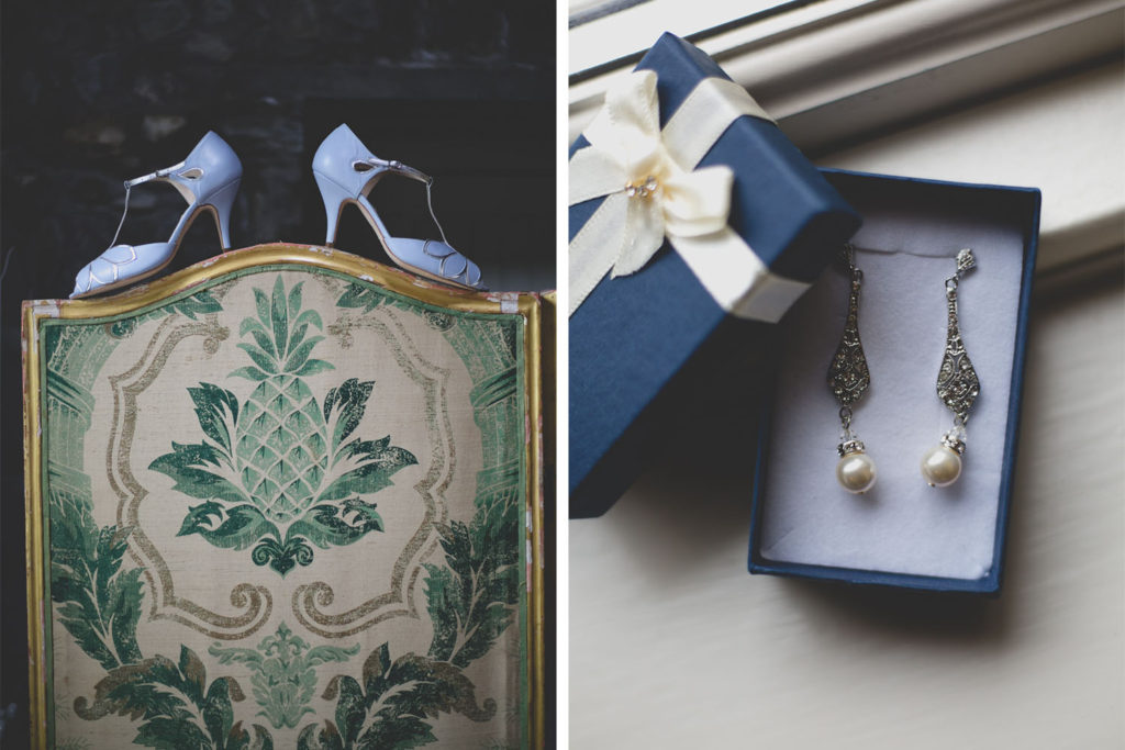 A shot of wedding accessories: shows and drop pearl earrings