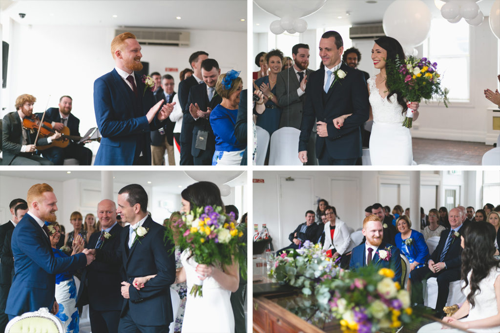 Groom reaction as he sees bride coming down the aisle