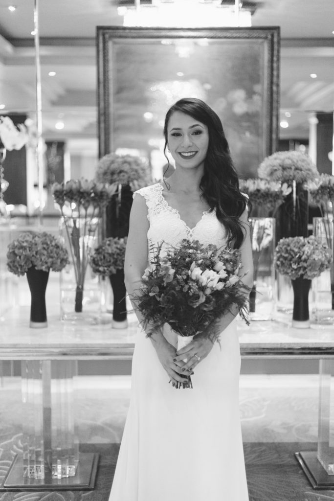 portrait of bride in foyer of the westbury hotel dublin