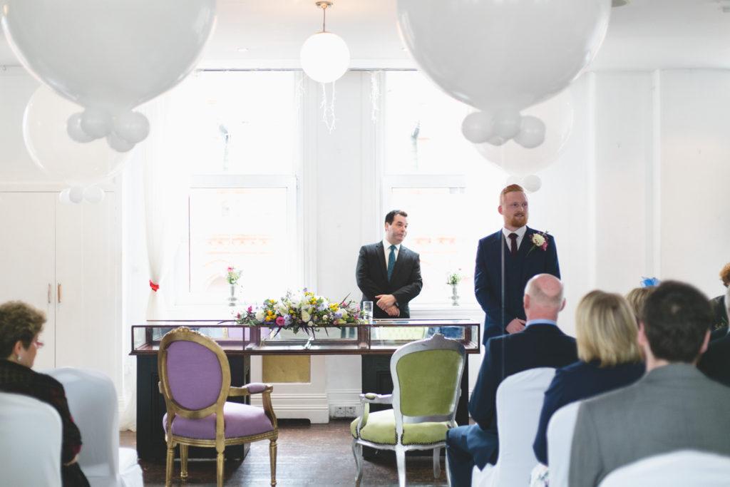 Giant white balloons at wedding ceremony