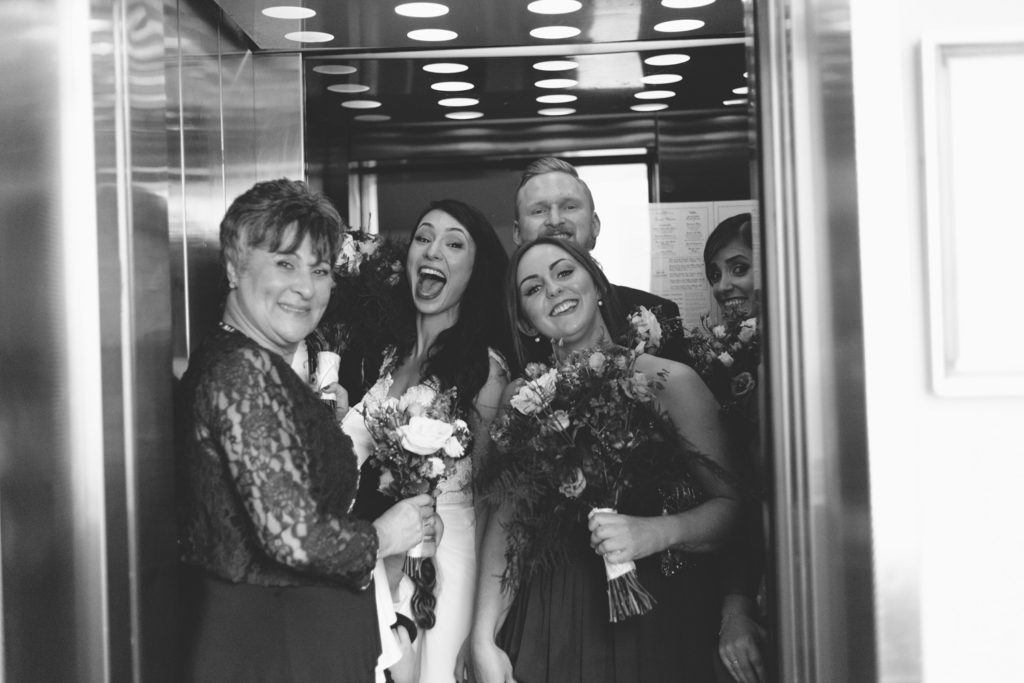 laughing in the elevator