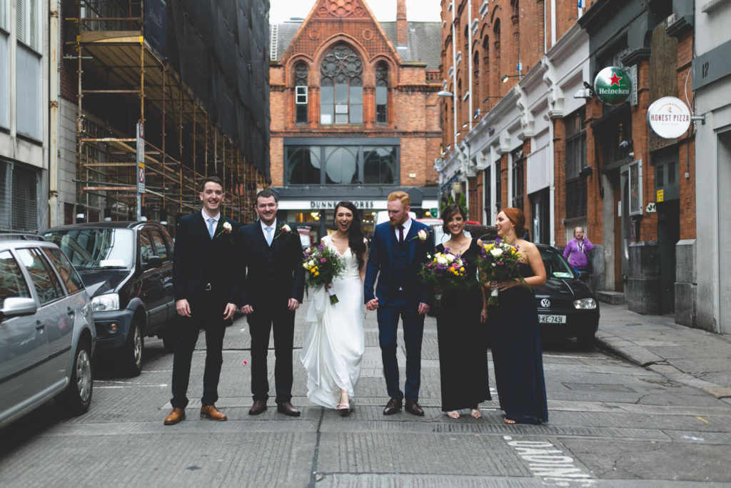 Dame court natural style bridal party portraits