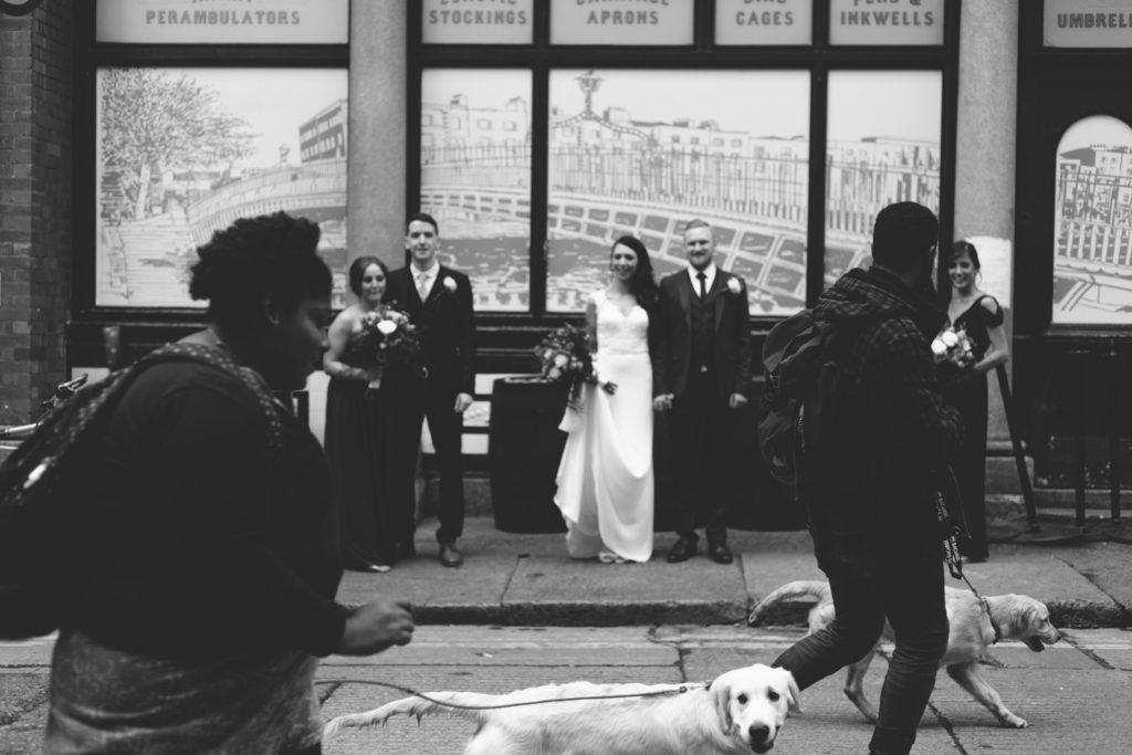 black and white street wedding photography