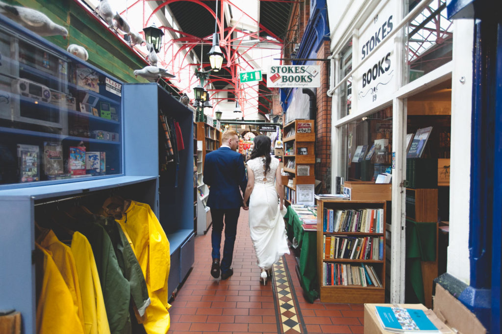 wedding couple in Georges street arcade