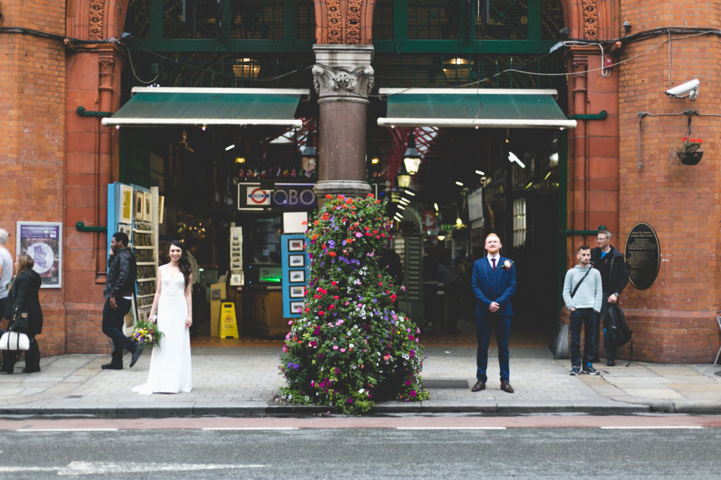 Couple portraits at the Dublin Market arcade