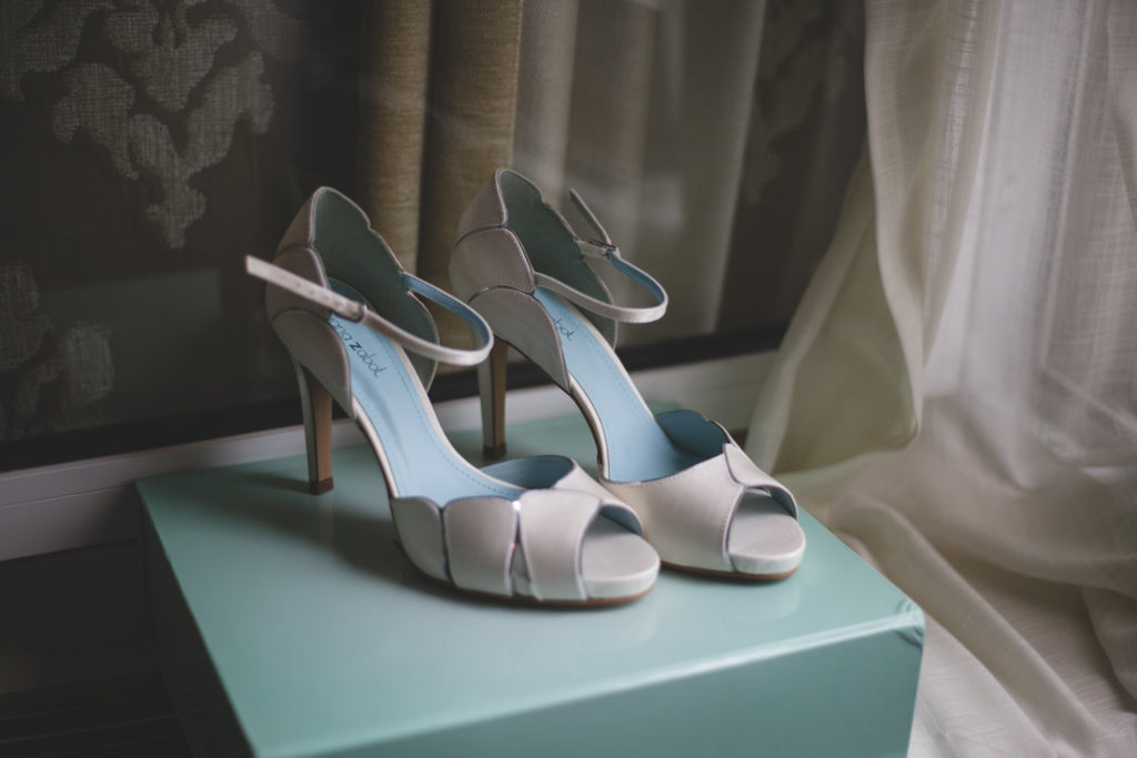 Gray and duck egg blue high heeled wedding shoes with peep toe and strap