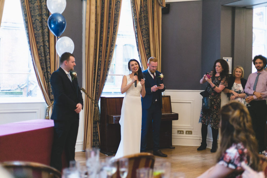 Ana and stephen give their speeches at the Central hotel bar