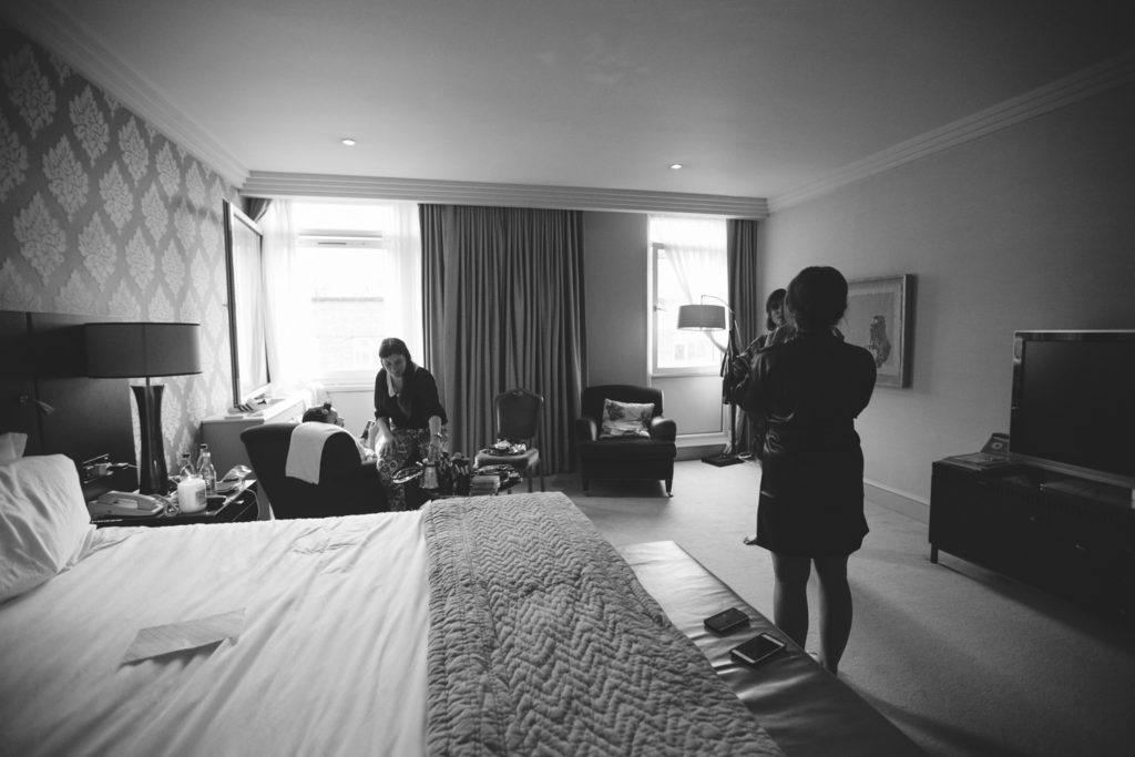 Bridal party getting ready at the Westbury Hotel Dublin