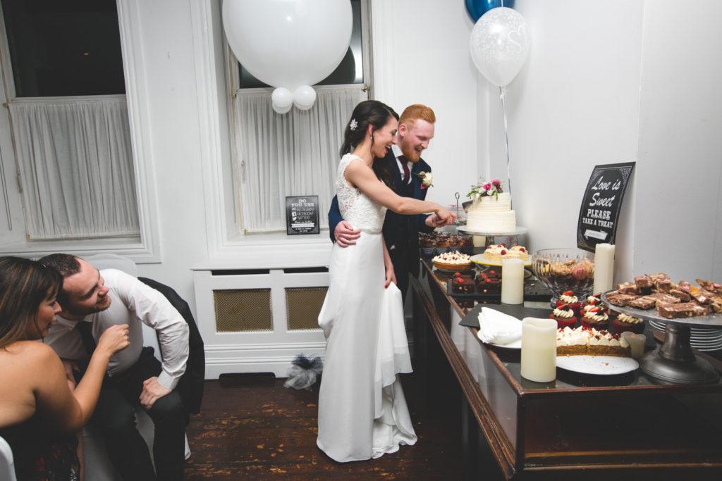 Cutting of the wedding cake
