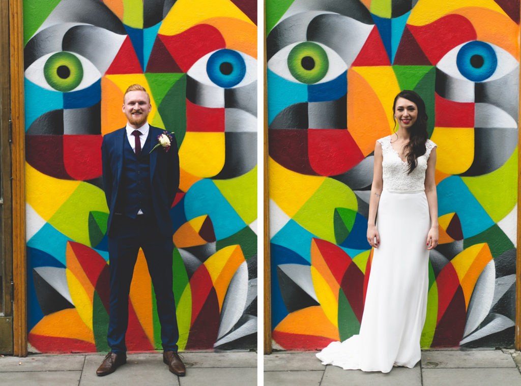 Diptych of bride and groom in front of colourful vivid graffiti