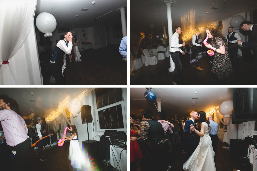 throwing shapes and partying at wedding