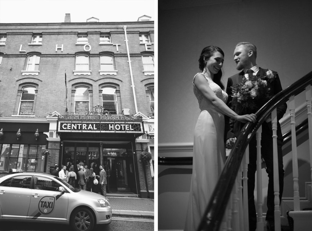 Central hotel bar Dublin wedding drinks and reception in black and white