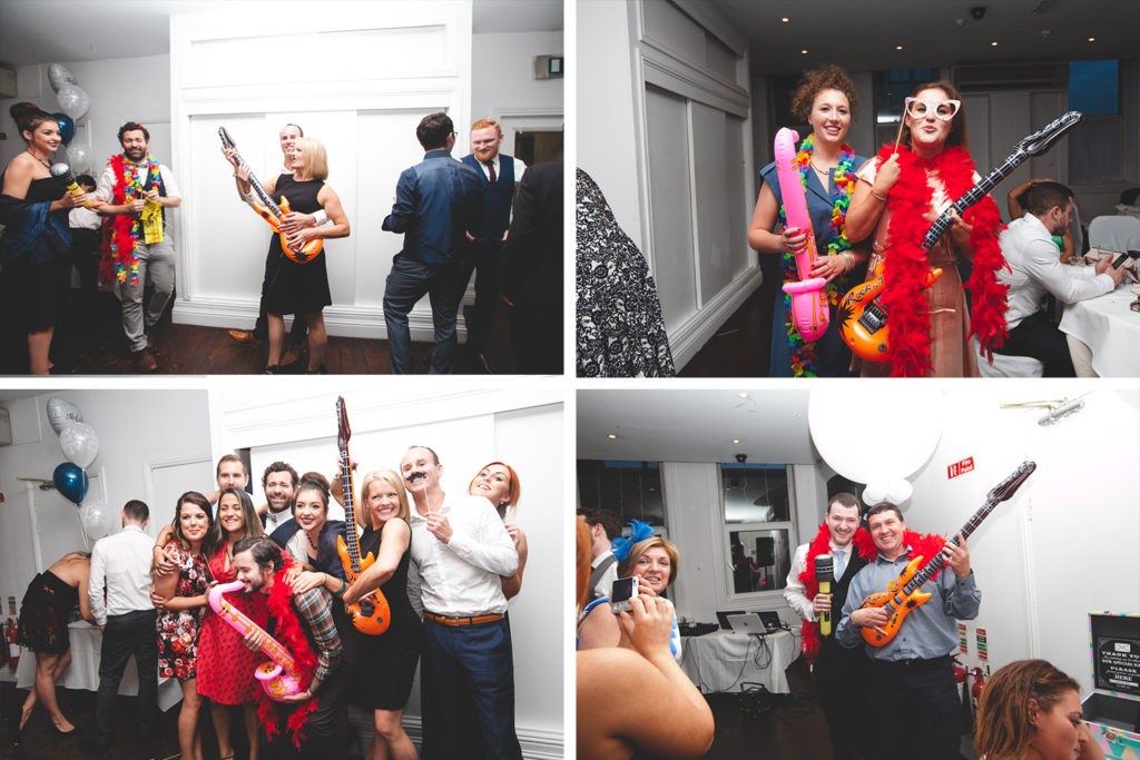Inflatable guitars and saxophones for photo booth
