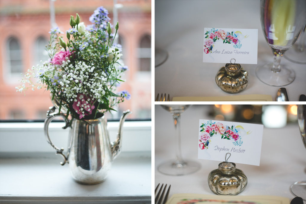 Fallon&Byrne Wedding with floral place setting cards