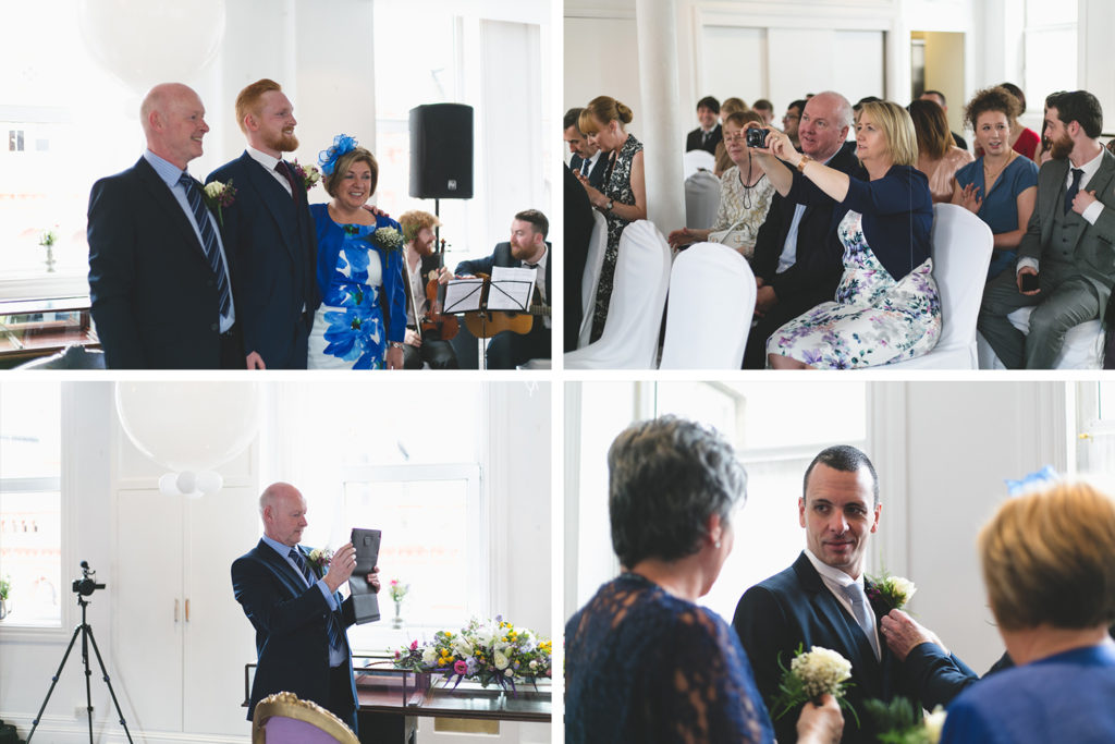 grid of guess taking photos at wedding ceremony