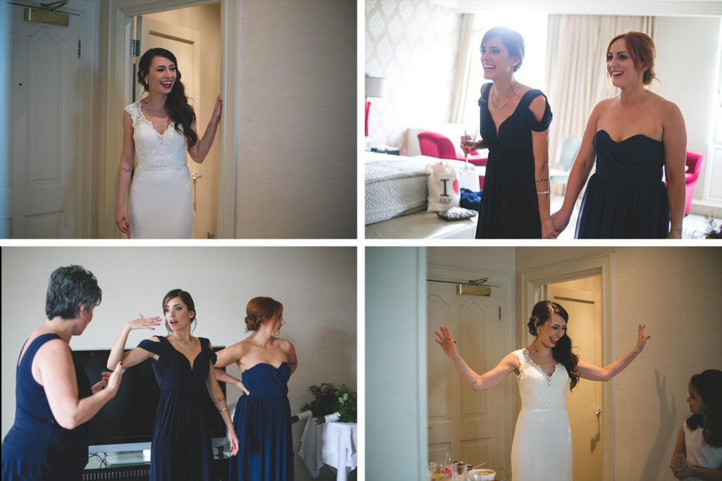 first look bridesmaids and bride at the Westbury Hotel