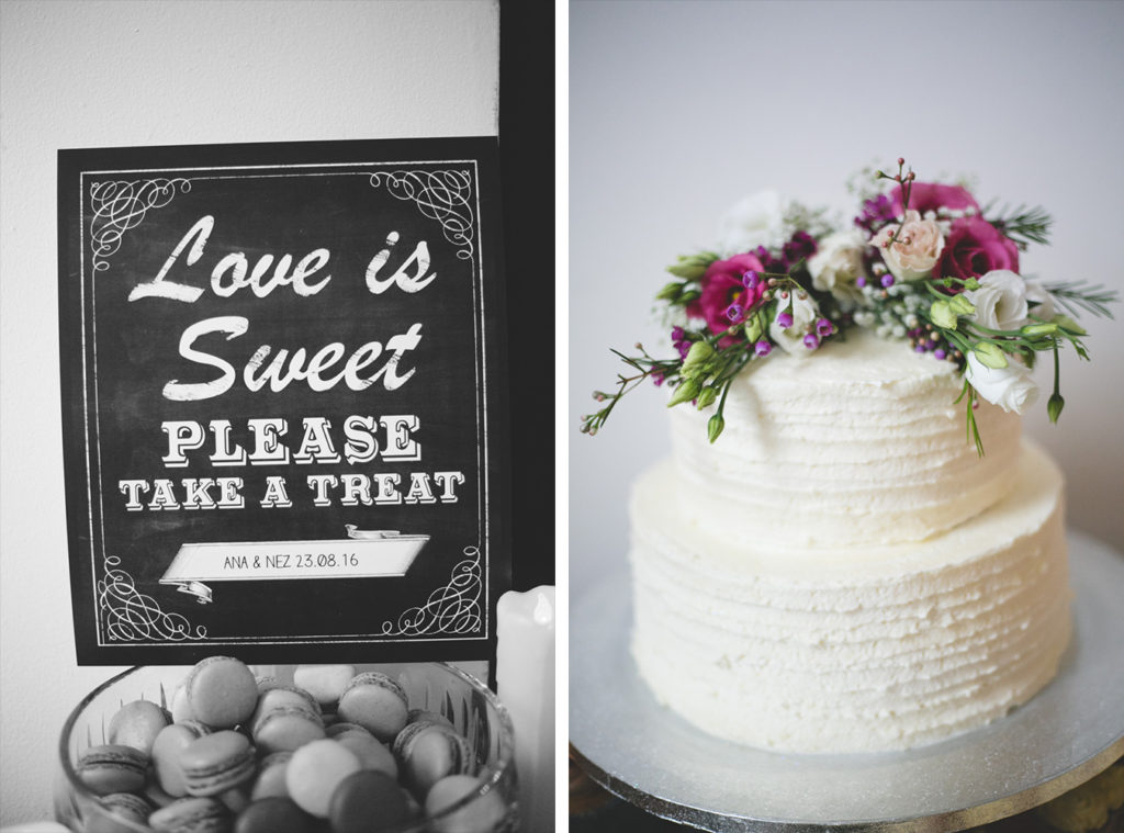 Love is sweet please take a treat and beautiful raw iced cake with flower topping
