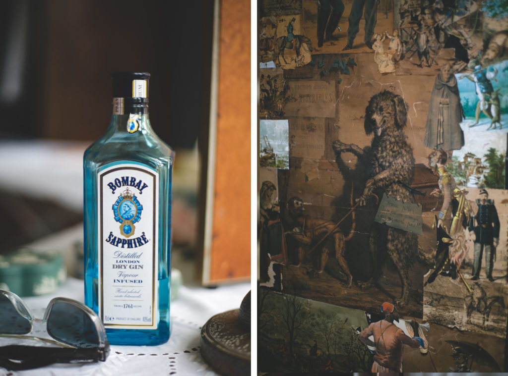 Bombay sapphire blue gin and funky wallpaper