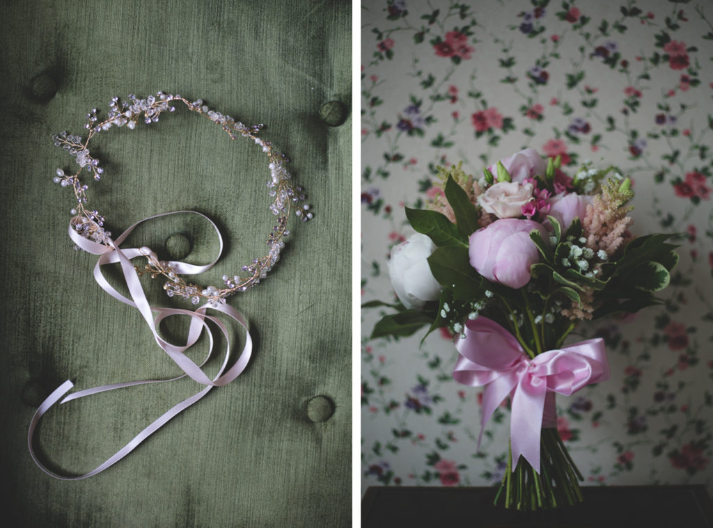 Diptych of a detailed headpiece and a pink themed flower bouquet