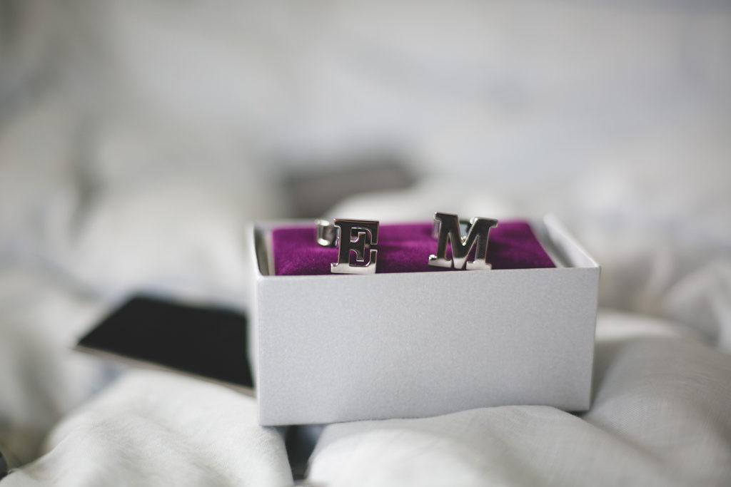 Silver custom initial cufflinks