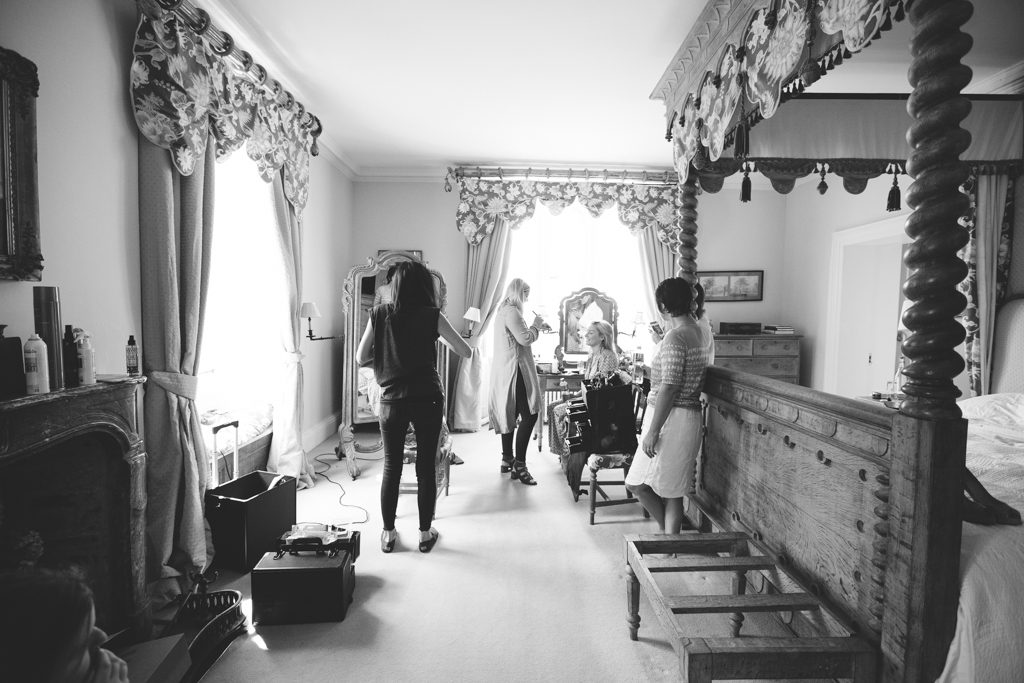Black and white photograph of bridal morning preparations