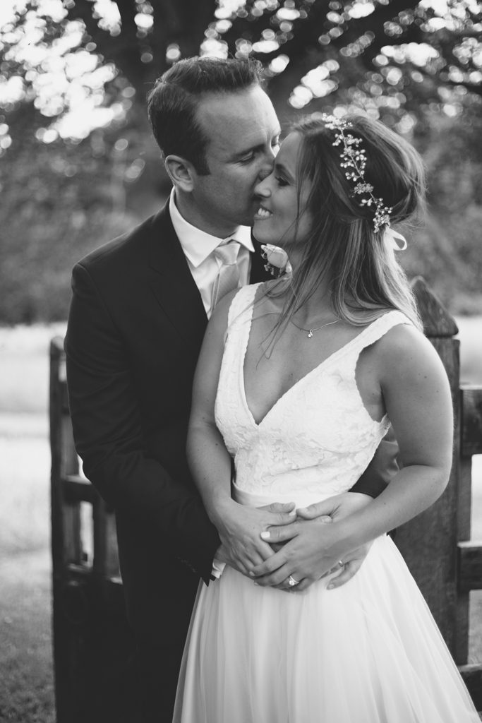 Black and white portrait of a newly married couple
