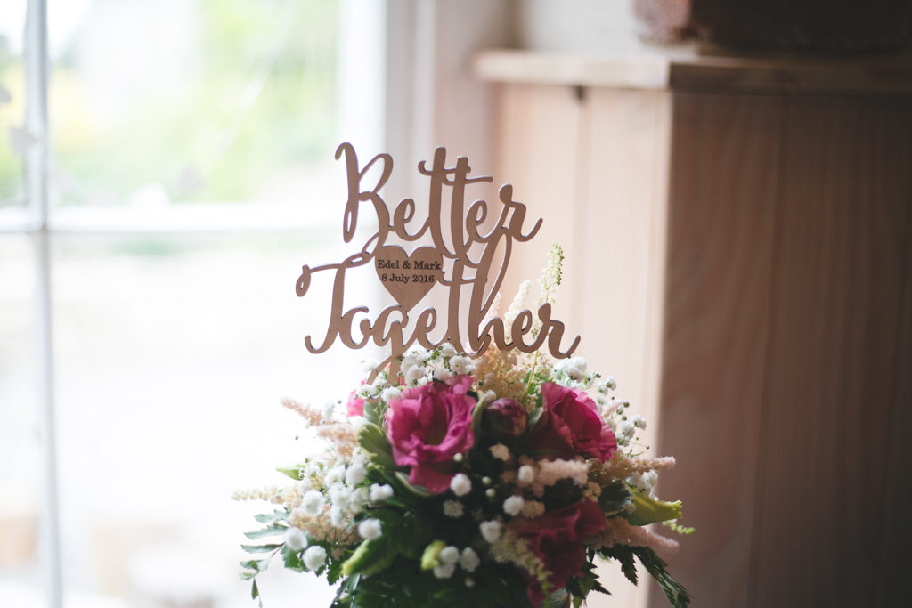 Customised 'Better together' wooden cake topper