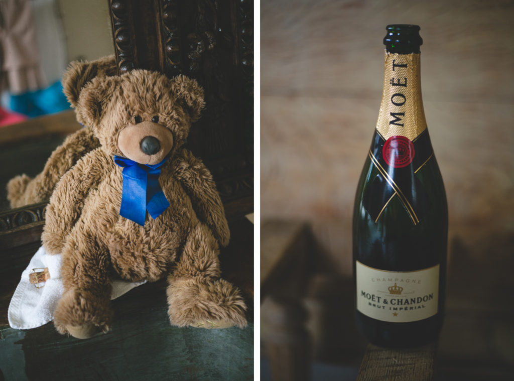beloved old teddy and a bottle of Moet & Chandon