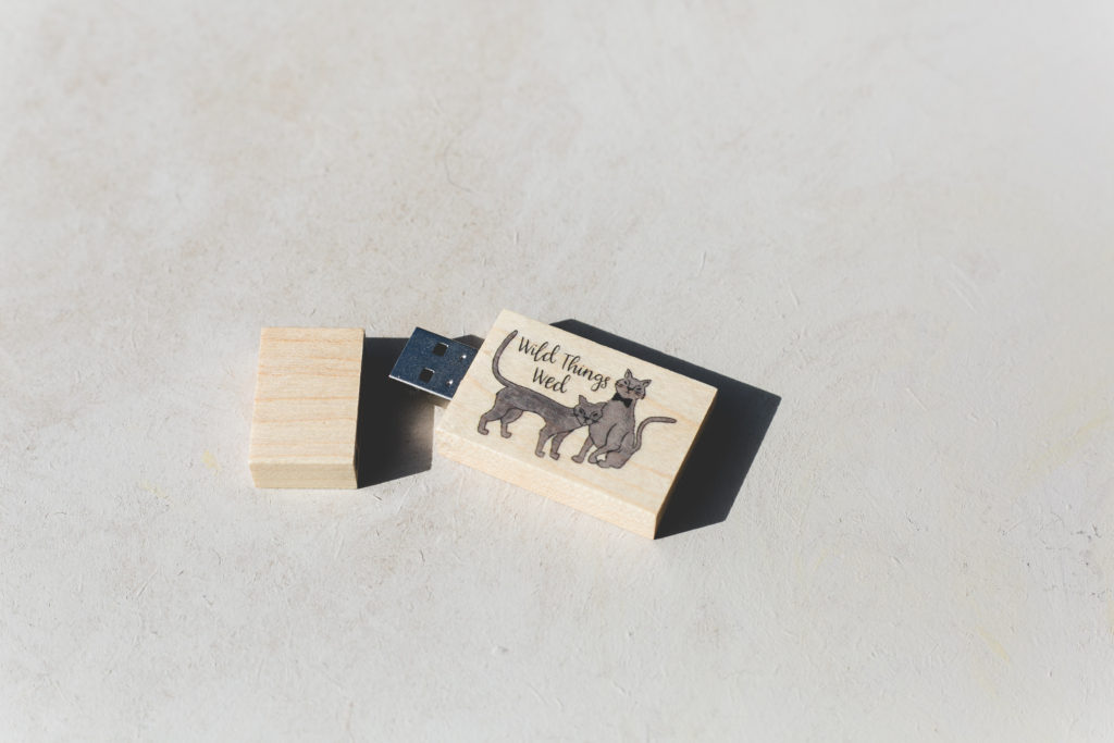 Rectangular magnetic USB with wedding photography branding