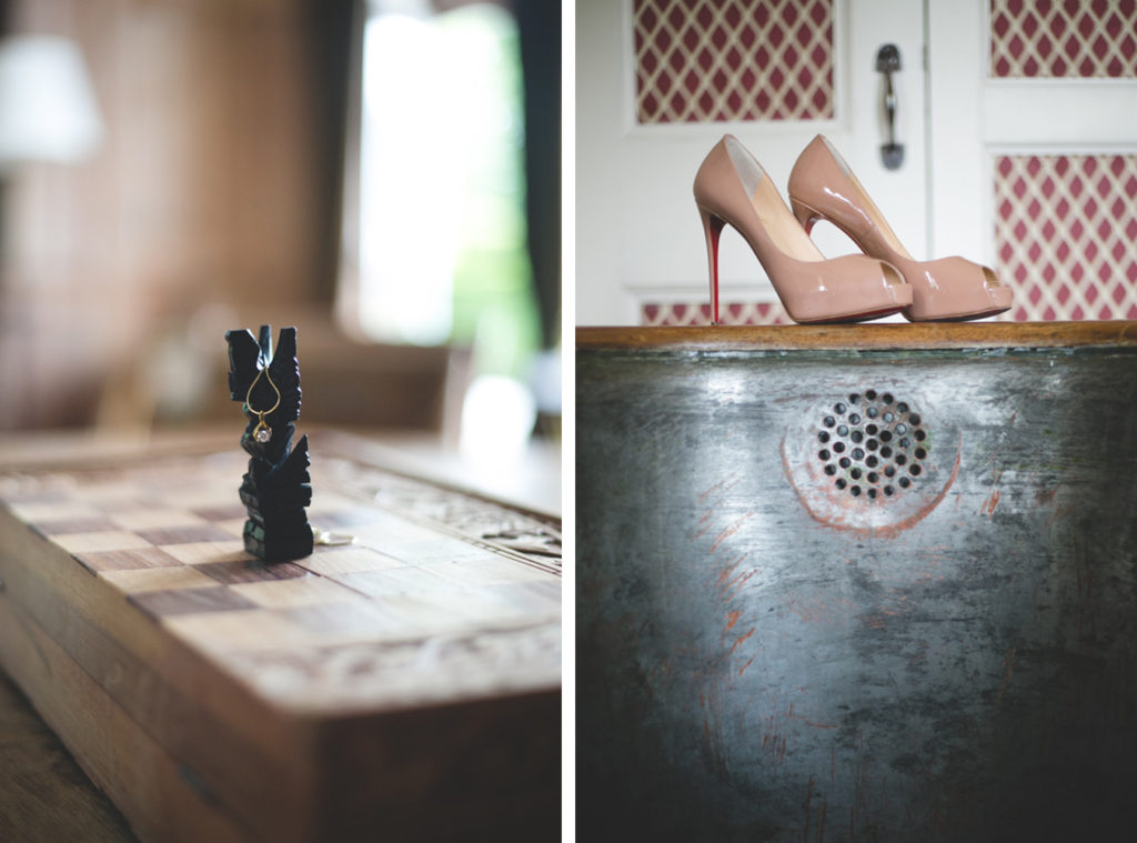 Diamond gold necklace on a chess set and nude peep-toe heels