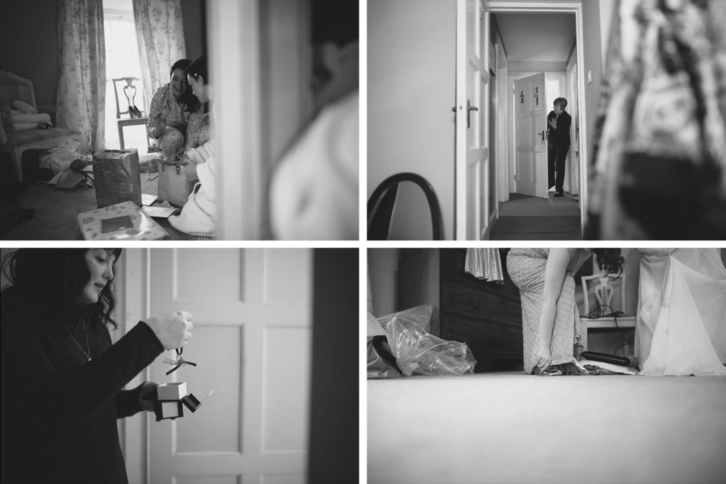 Black and white grid of moments of a wedding morning