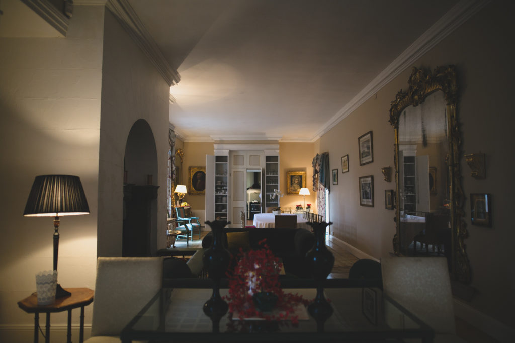 Living room and winter reception area at LoughCrew House