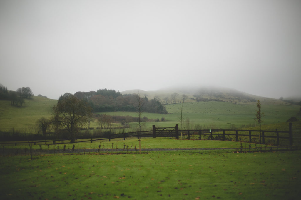 A misty foggy morning at Loughcrew House & gardens